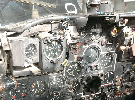 Cockpit and instrument panel of deHavilland Vampire T.11 WN549 in the Ulster Aviation Society hangars. Image Mark J. Cairns