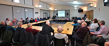 Ulster Aviation Society members at one of the past monthly aviation-related talks at CIYMS in Holywood, Co. Down