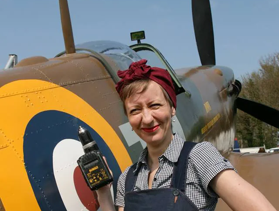 """Spitfire Event ReEnactor Joanne Glassett at Shane's Castle 2017, with the UAS Spitfire Replica Mk2a """"Down"""""""