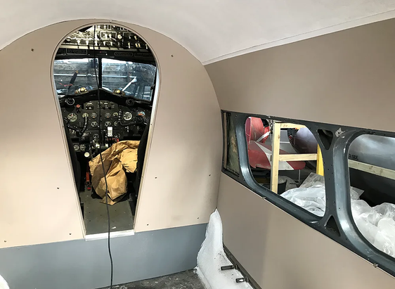 Internal woodwork done by master joiner, Peter Morrison inside the Devon  C2 cockpit in Hangar 2 at the Ulster Aviation Society.  Image:  Mark J. Cairns