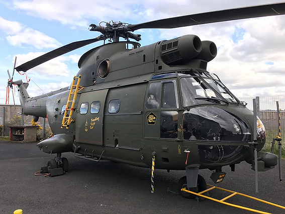 "Puma HC1 Helicopter XW222 nick-named the ""Trembling Triple Two"" outside Hangar 1 of the Ulster Aviation Society at Maze Long Kesh"