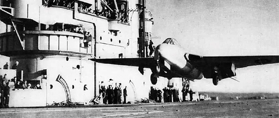 "Eric ""Winkle"" Brown takes the first ever Jet aircraft in the deHavilland Vampire off an aircraft carrier, the HMS Ocean in December 1945"