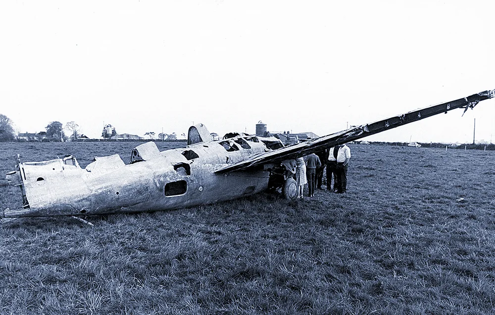 After being hauled out of Portmore Lough, Wildcat F4F JV482 rests on terra firma for first time in 40 years