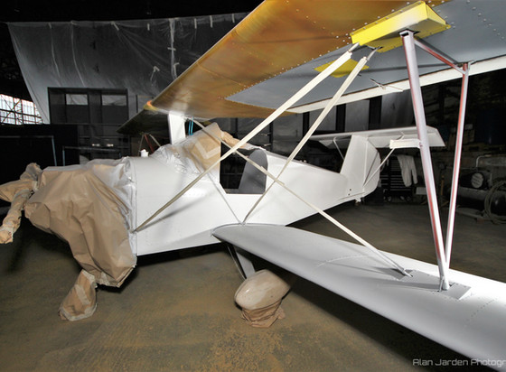 Aerosport Scamp during its repaint by Ian Hendry at the Ulster Aviation Society