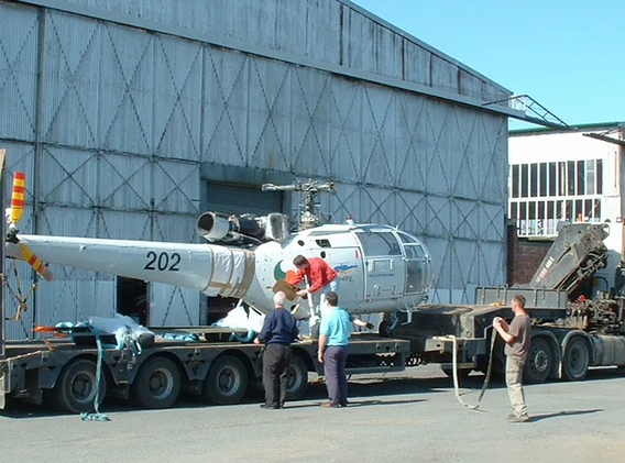 Alouette-Helicopter-Hangar-on low-loader