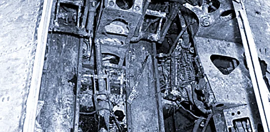 Inside the recovered wreckage of Wildcat F4F JV482