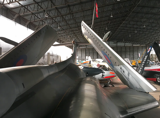 Looking over the back fuselage of the Blackburn Buccaneer S.2B XV361 in the main hangar at the Ulster Aviation Society at Maze Long Kesh, Lisburn