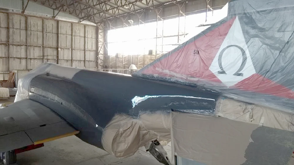 "The Phantom XT864 (""007"")    during restoration and re-painting period back to its 892 squadron Fleet Air Arm colours for the Society's 50th Anniversary during early 2018"