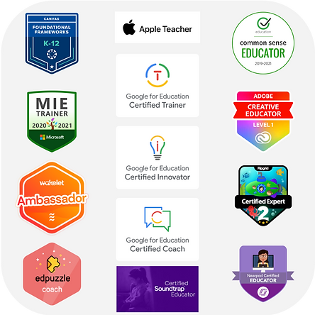 A collection of edtech badges arranged in a square. Badge certifications listed on the page.