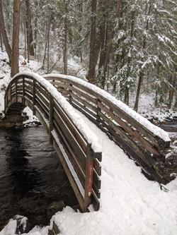 Falls Loop Bridge in the snow