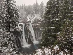 Burney Falls under a wash of snow