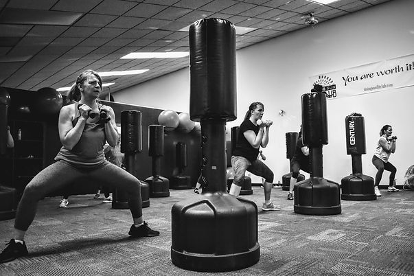A kickboxing class at Rising Sun Fit Club