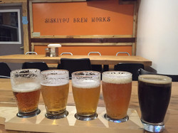 A flight of beers at Siskiyou Brew