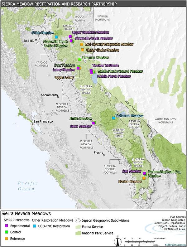 Map of Meadows in the Sierra