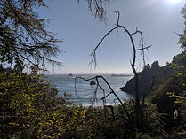 Views of rocky outcroppings on the north coast