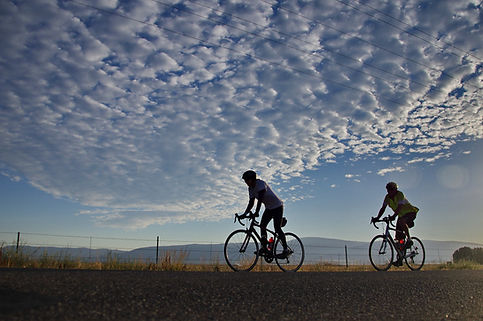 two bicycle riders in the Fall River Valley