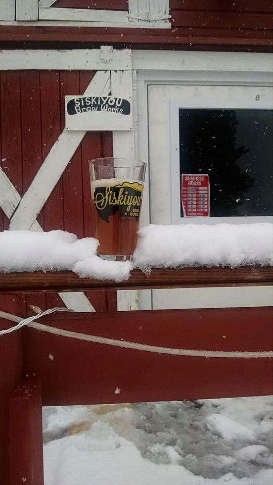 Snow at Siskiyou Brew Works