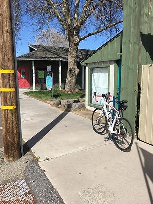 Bike rack outside Plumas Bank