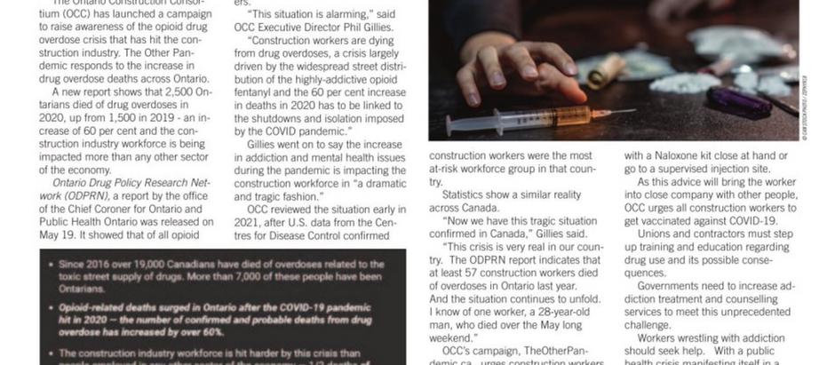"OCC raising awareness as ""alarming"" opioid crisis hits construction industry workforce"