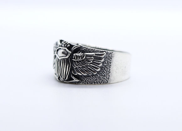 Winged Egyptian Scarab Beatle Ring