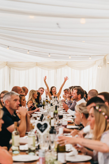 relaxed marquee wedding breakfast