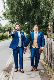 Groom & best man, blue suits
