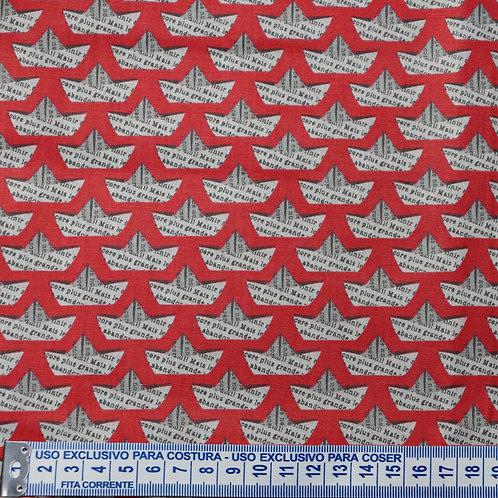 Tricoline  Barquinhos Vermelho 0,50 x 1,40m