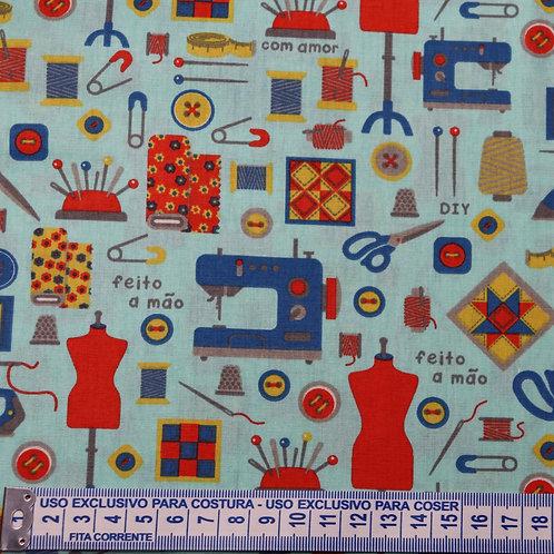 Tricoline  Costurinhas Azul 0,50 x 1,40m