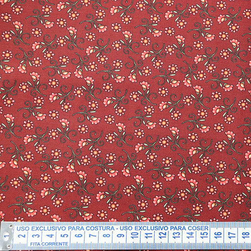 Tricoline  Florzinhas Vermellho 0,50 x 1,40m