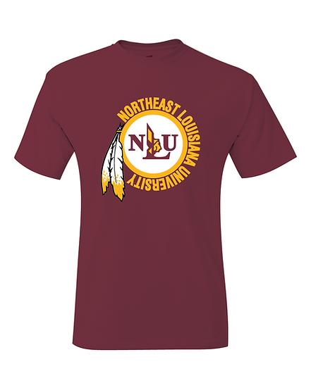 NLU Northeast Louisiana University Maroon Throwback Logo T-Shirt