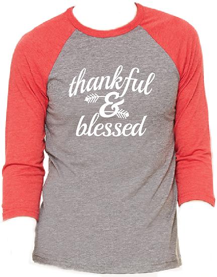 Thankful & Blessed Christmas Pajama Raglan T-Shirt