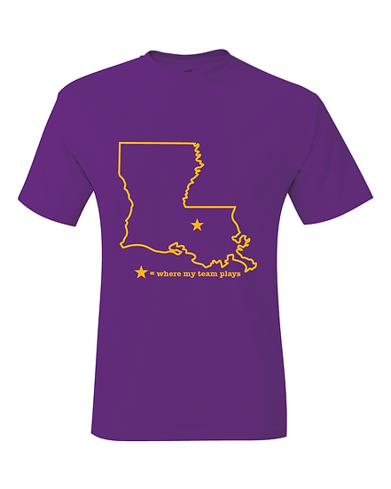 Baton Rouge Louisiana Purple & Gold Where My Team Plays Map T-Shirt