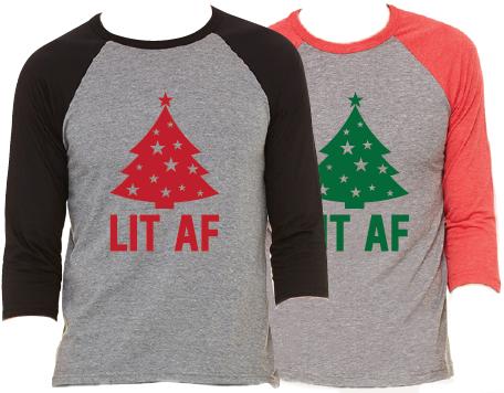 Christmas Tree Lit AF Raglan Pajama T-Shirt