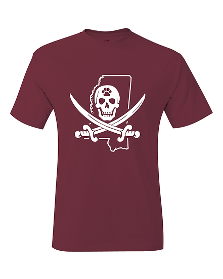 Mike Leach Maroon & White Pirate T-Shirt
