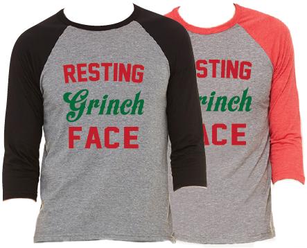 Resting Grinch Face Christmas Raglan Pajama T-Shirt