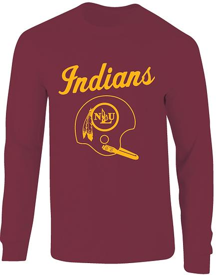 NLU Northeast Louisiana Throwback Football Helmet Long Sleeve T-Shirt