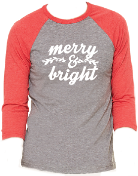 Merry & Bright Christmas Raglan Pajama T-Shirt