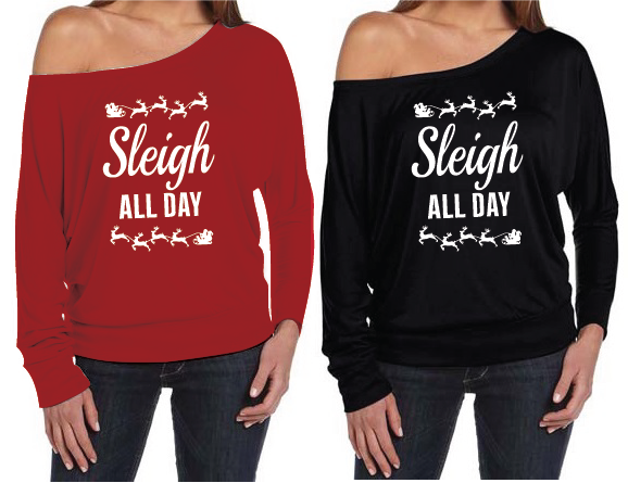 Christmas Sleigh All Day Women's Off The Shoulder Slouch T-Shirt