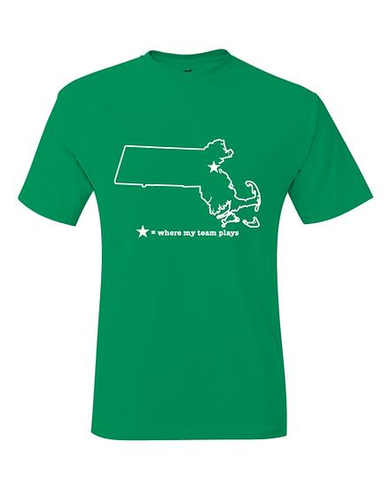Boston Massachusetts Green & White Where My Team Plays Map T-Shirt