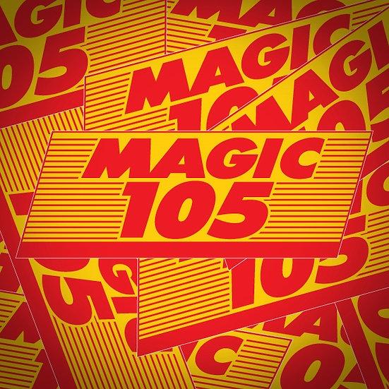 Magic 105 KMJX Little Rock Vintage Retro Radio Yellow & Red Logo Sticker