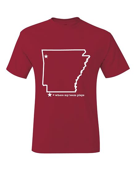 Fayetteville Arkansas Cardinal & White Where My Team Plays Map T-Shirt