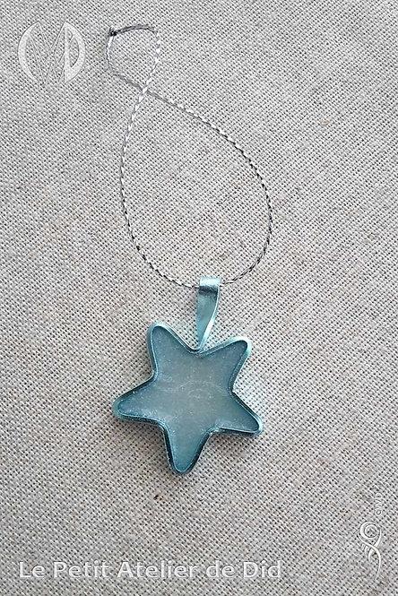 Décoration « Étoile scintillante » Ciel bleu n°1 (Vue de dessus, recto)