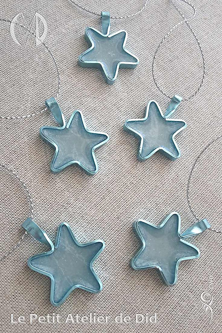 Décorations « Étoile scintillante » Ciel bleu (Lot de 5)
