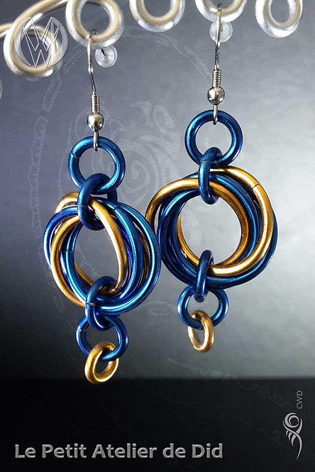 Boucles d'oreille « Entrelacs » Bleu Royal Or [V1]