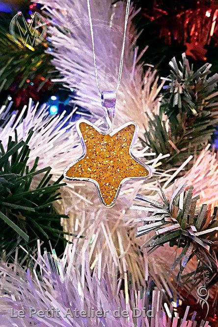 Décoration festive « Étoile scintillante » 1.0 Orange et paillettes (Vue de face, sur sapin de Noël)