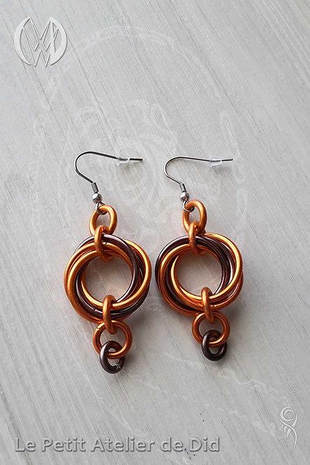 Boucles d'oreille « Entrelacs » Orange Chocolat [V1]