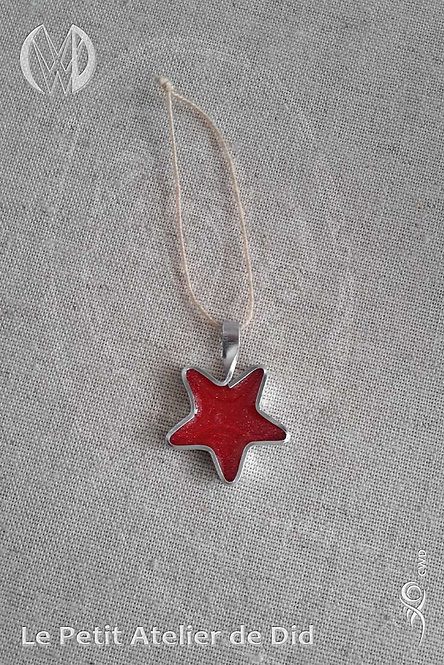 Décoration de Noël « Étoile scintillante » Rouge #1 (Vue de dessus, recto)