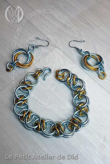 Parure Boucles d'oreille et  Bracelet « Chaine d'anneaux » Or Ciel