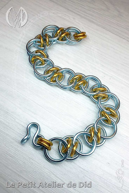Bracelet « Chaine d'anneaux » Or Ciel