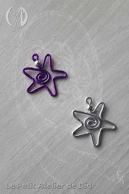 Pendentifs « Etoile jolie » Argent et Violet Lilas